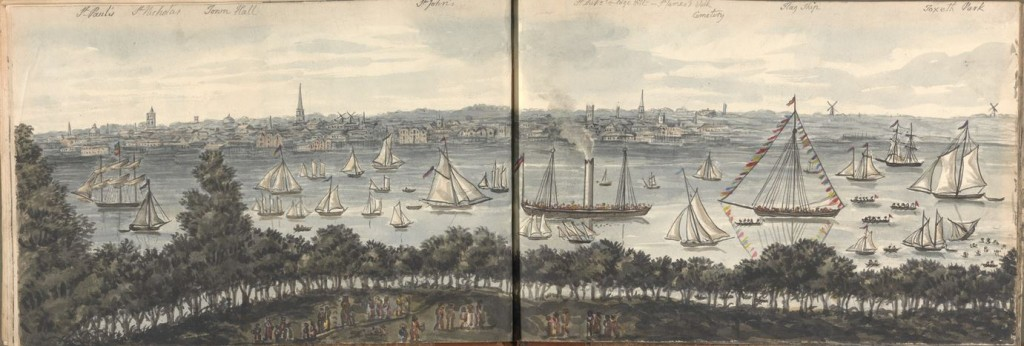 The Mersey towards Toxteth Park on right 1829