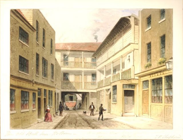 Bell Inn Holborn 1853 rear view - London coaching inn