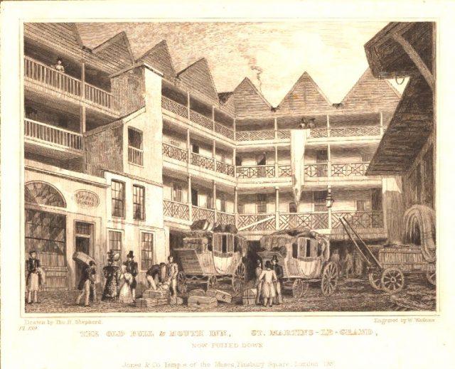 Bull and Mouth St Matrins le Grand 1830 - London coaching inn