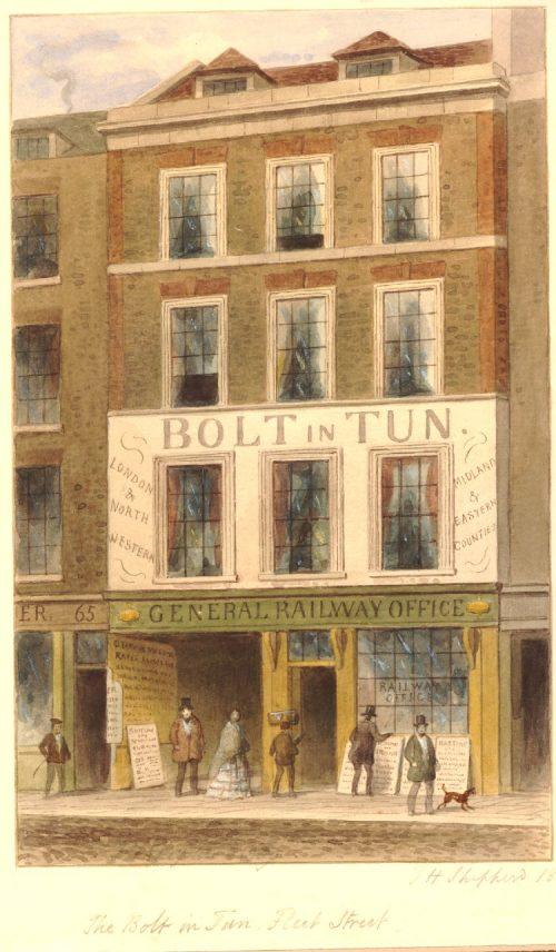 The Bolt and Tun Fleet St 1859 - London coaching inn